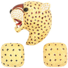 Ciner Roaring Leopard Cat Pin and Earrings Set