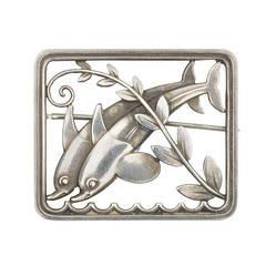 Georg Jensen Sterling Silver Dolphin Brooch Pin