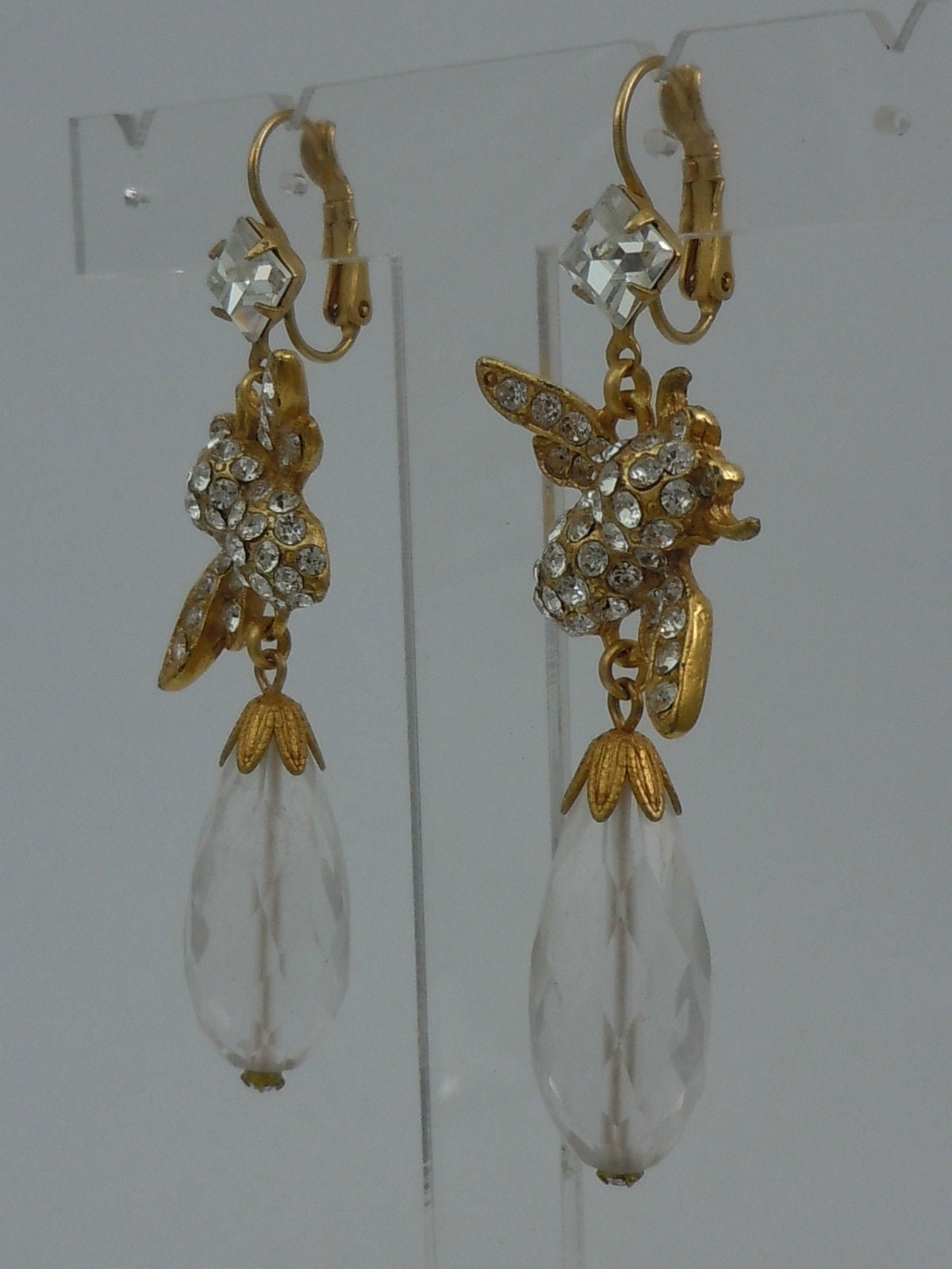 06132f6e1e22 Featuring Antiqued Gilt Bees set with Crystal Glass Chatons suspended from  Lever back earring fittings with