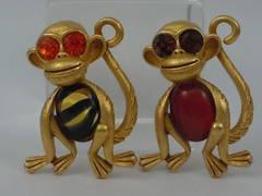 Askew London Pair of Big Eyed Monkey Brooches