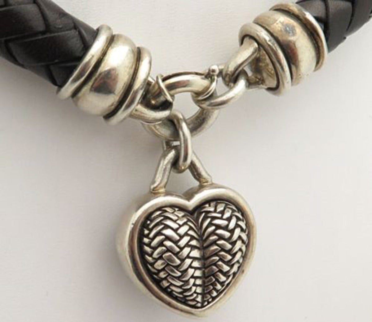 Barry Kieselstein Cord BKC Sterling Silver Heart Braided Leather Necklace In Excellent Condition For Sale In Montreal, QC