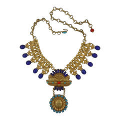 Askew London 'Egyptian Revival' Double Sphinx Collar Necklace