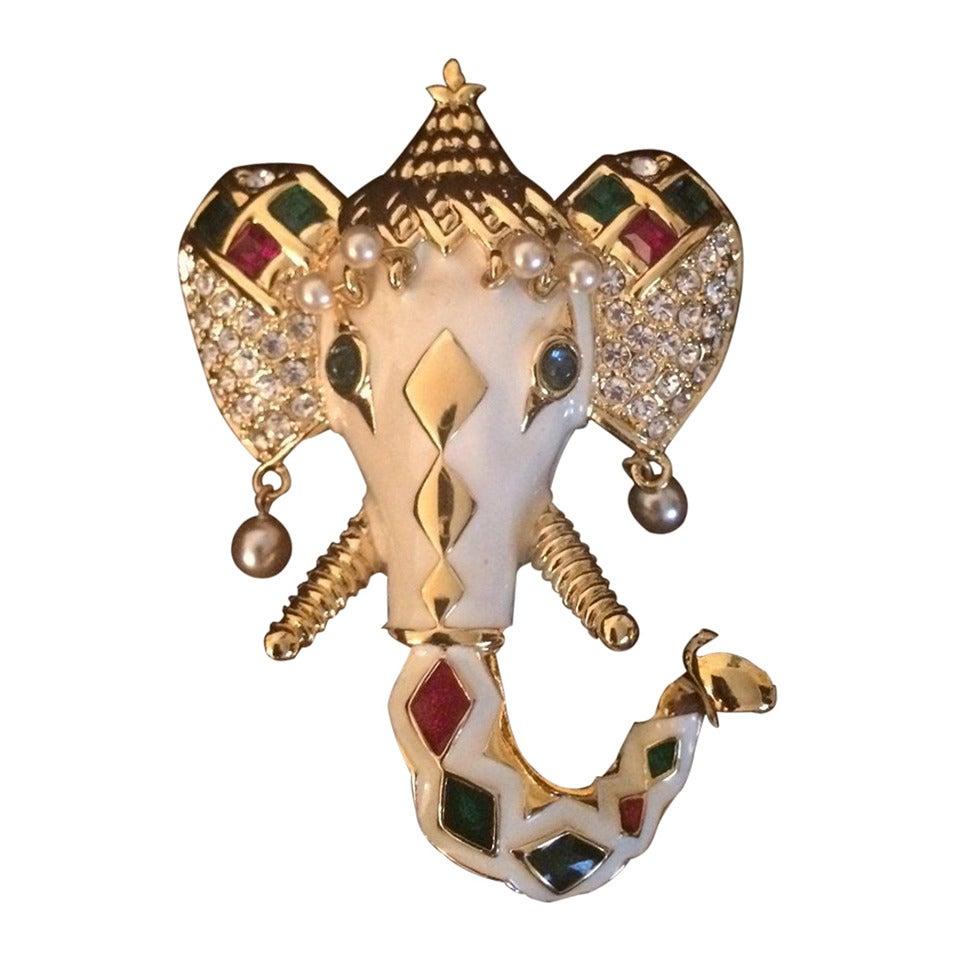 KJL Kenneth Jay Lane Royal Maharajah Enamel Elephant Brooch Pin 1