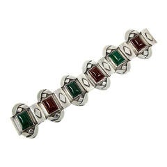 Arts and Crafts Green Onyx and Carnelian Sterling Silver Bracelet