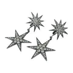 Askew London Large Brilliant Double Star Drop Earrings