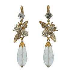 Askew London Bee Quartz and Crystal Drop Earrings