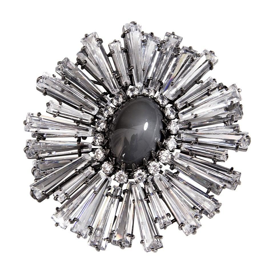 Large Sunburst Crystal Statement Brooch Pendant 1
