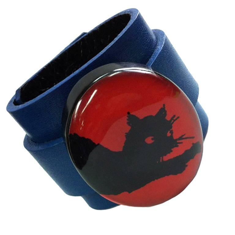 Lucite Black Cat on Leather Cuff Bracelet For Sale