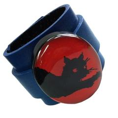 Lucite Black Cat on Leather Cuff Bracelet