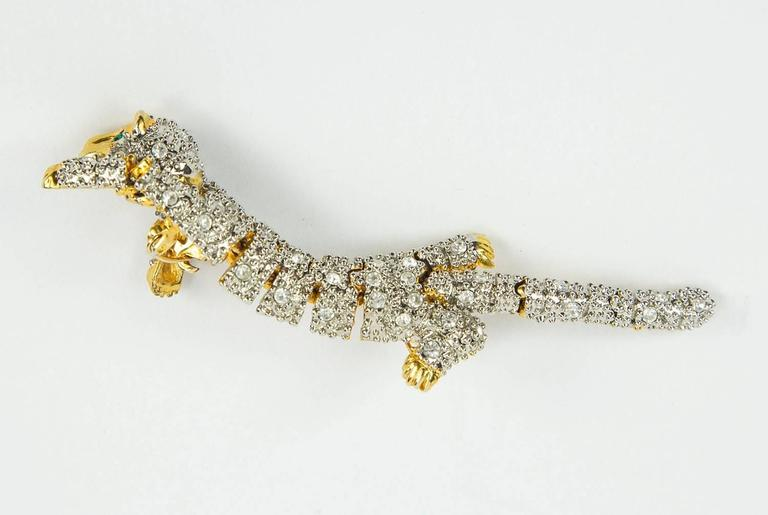 Striking Designer CZ Pave Cat Cheetah Articulated Brooch Pin  4