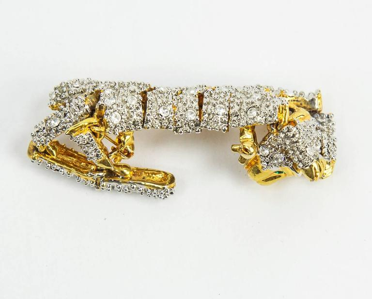 Striking Designer CZ Pave Cat Cheetah Articulated Brooch Pin  2