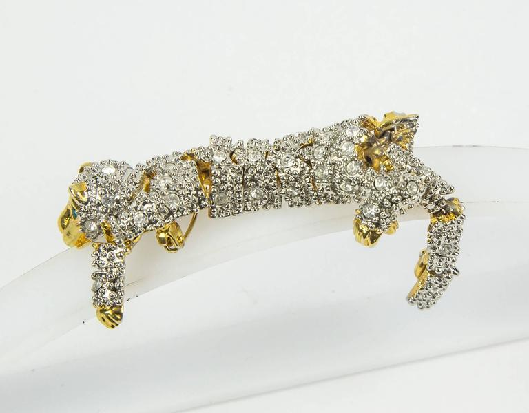 Striking Designer CZ Pave Cat Cheetah Articulated Brooch Pin  3
