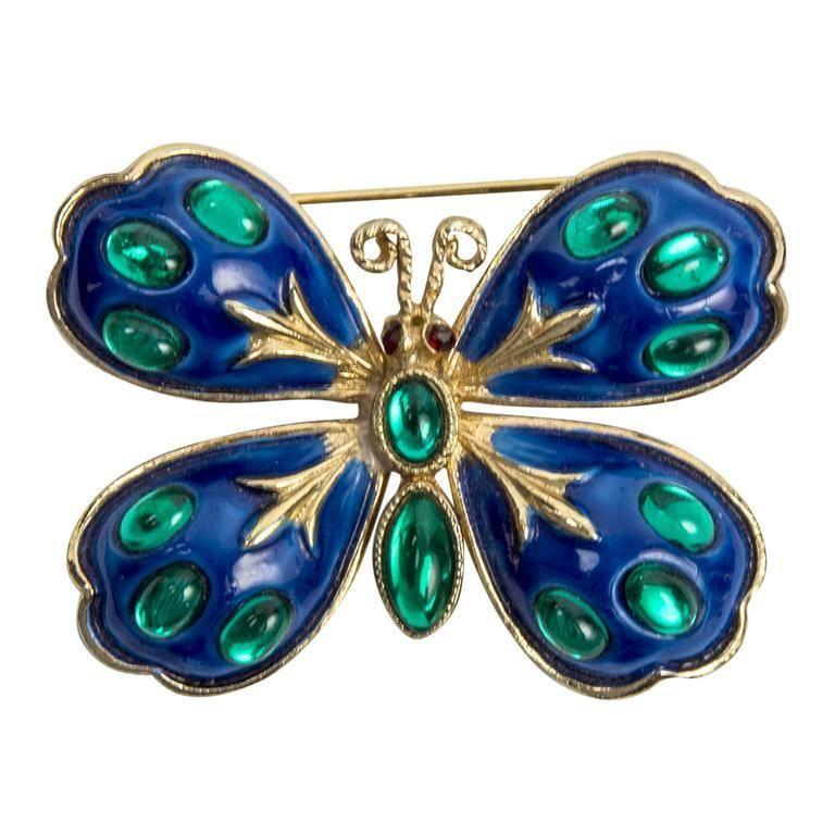 Modernist Signed HAR Blue Enamel and Turquoise Enamel Butterfly Brooch Pins  For Sale