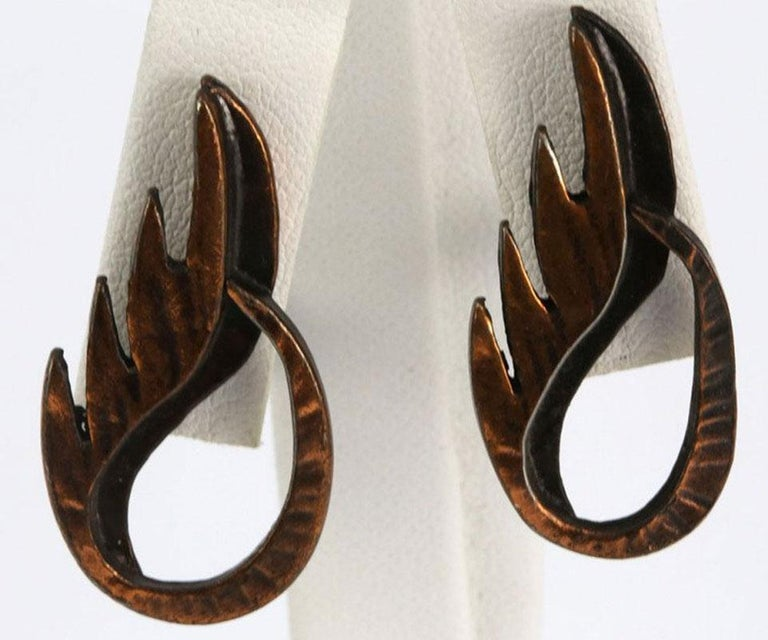 Mid Century Modern Rebajes Flame Pendant Copper Earrings In Excellent Condition For Sale In Montreal, QC