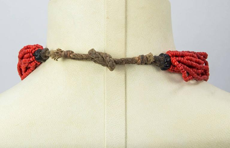 Modernist Multi Strand Small Nugget Coral Tribal Art Necklace For Sale