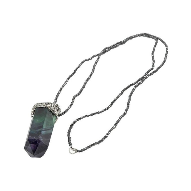 Long Faceted Multi-Colored Quartz Crystal and Hematite Drop Pendant Necklace In Excellent Condition For Sale In Montreal, QC