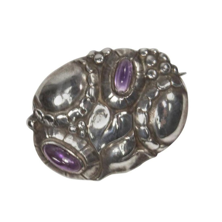 Art Nouveau Theodor Fahrner Jugendstil Amethyst Sterling Silver Brooch Pin For Sale