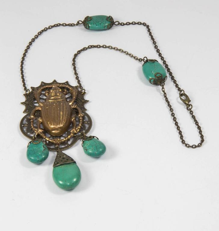 Bronzed Scarab Beetle Pendant Necklace at 1stdibs