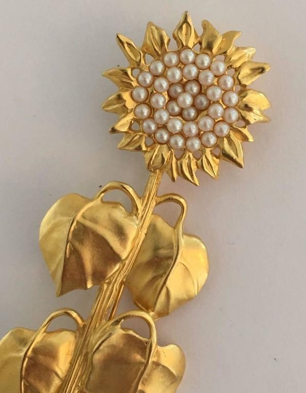 Rare Karl Lagerfeld Garden Series Matte Gold Sunflower Brooch Pin 2