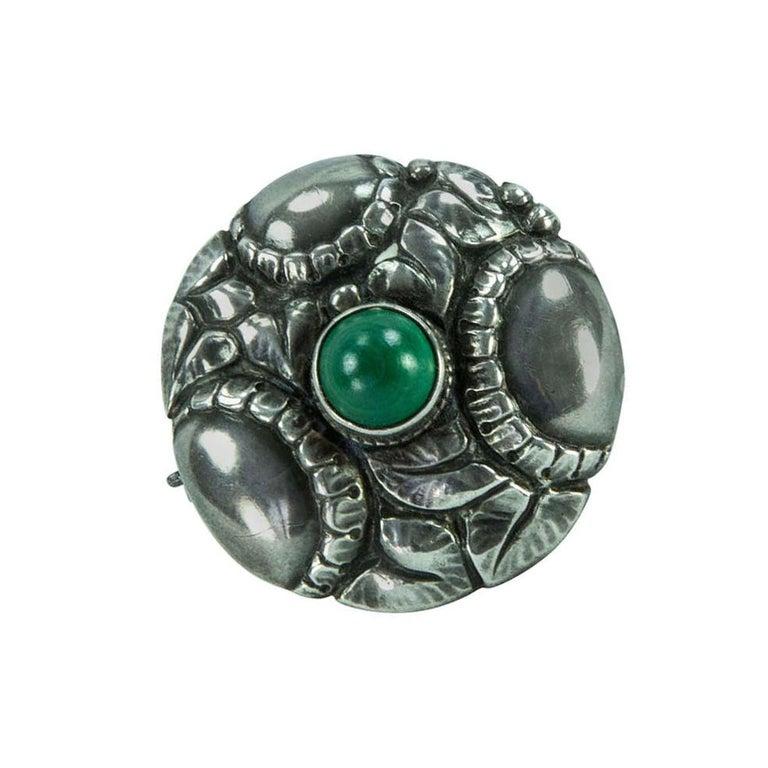 724f67c76ec03 Theodor Fahrner Jugendstil Green Onyx Sterling Silver Brooch Pin