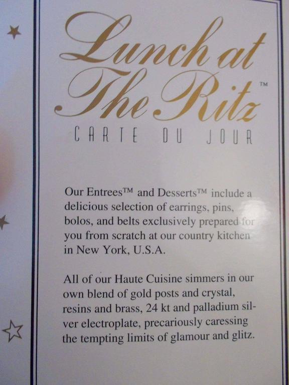 "Rare Lunch At The Ritz ""Hello, How Are You"" Earrings On Original Menu Card 3"