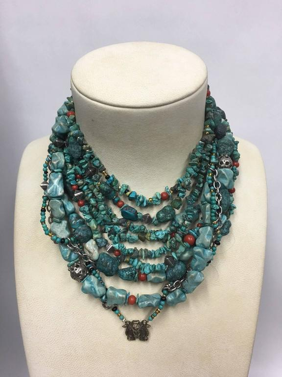 Women's Turquoise Coral Sterling Silver Multi-Strand Necklace For Sale