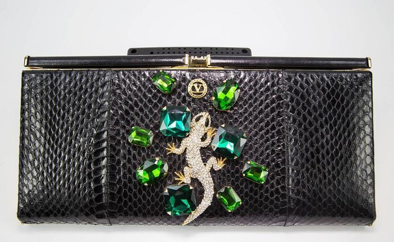 Extraordinary Vanentino Garavani Haute Couture Lizard Jewel Clutch Bag For Sale 4