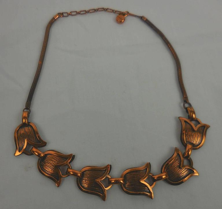 Mid Century Modern Rebajes Modernist Copper Tulip Statement Necklace  In Excellent Condition For Sale In Montreal, CA
