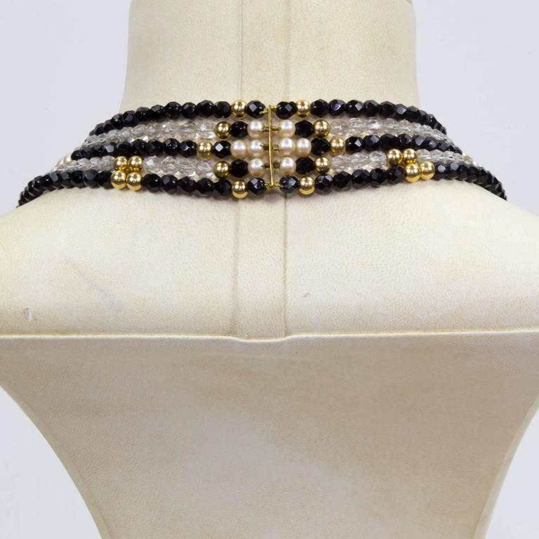Contemporary Striking Long Chanel inspired Multi Strand Swarovski Crystal Runway Necklace For Sale