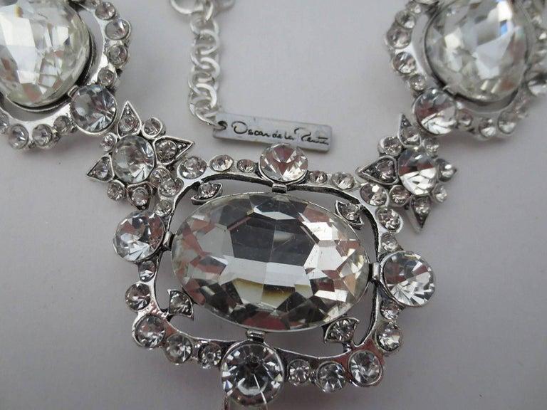 Modernist Signed Oscar De La Renta Crystal Estate Statement Necklace For Sale