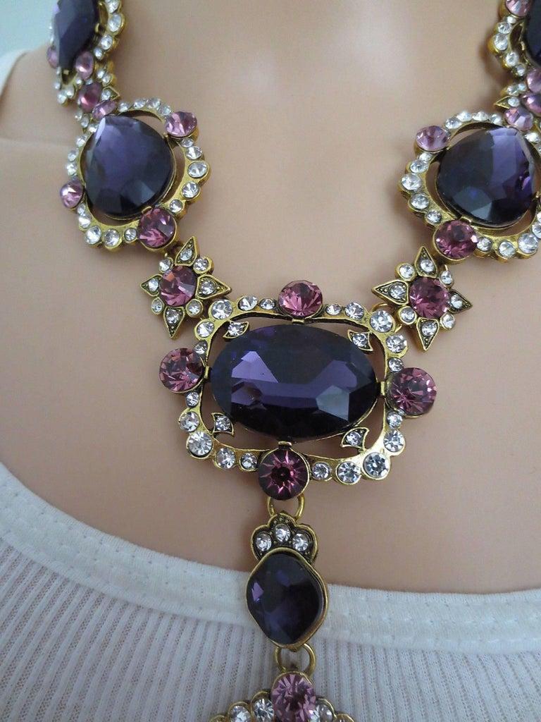Outstanding Oscar De La Renta Faux Amethyst Crystal Runway Drop Necklace 3