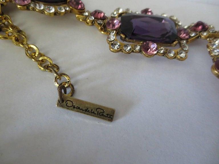 Outstanding Oscar De La Renta Faux Amethyst Crystal Runway Drop Necklace 4