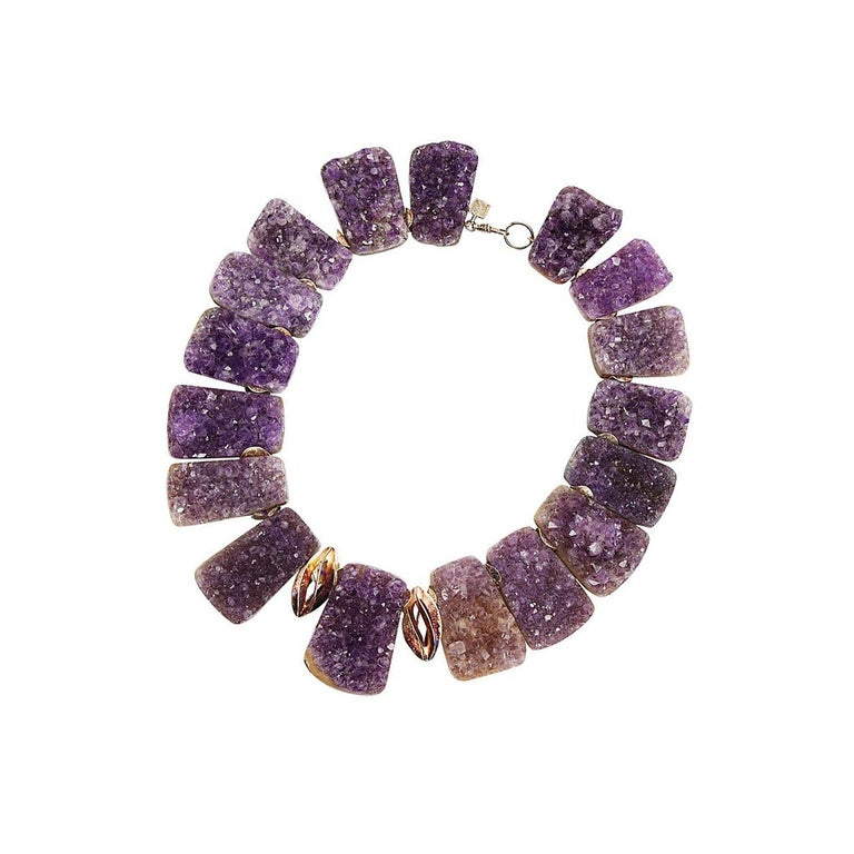 Sensational Genuine Natural Gem Amethyst Quartz Druzy Necklace In New Condition For Sale In Montreal, QC
