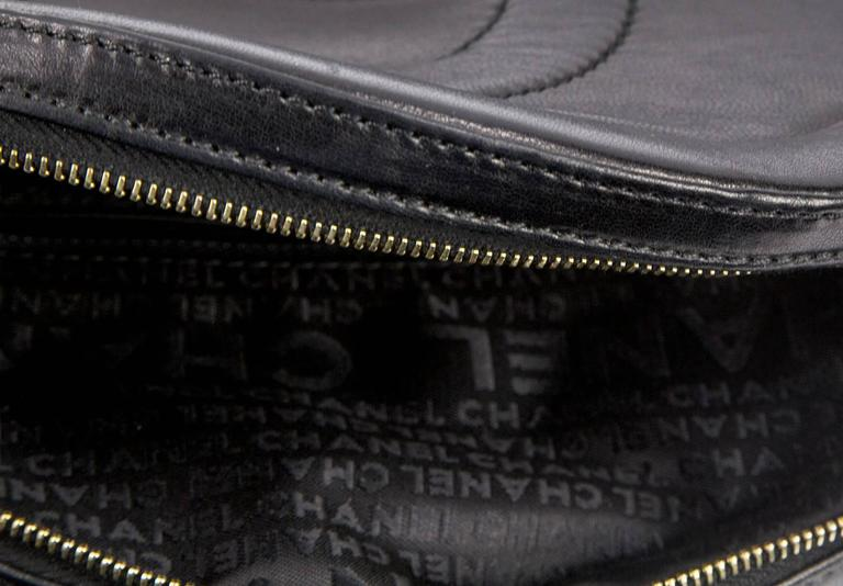 Chanel Round Black Logo Quilted Top Handle Leather Handbag  For Sale 1
