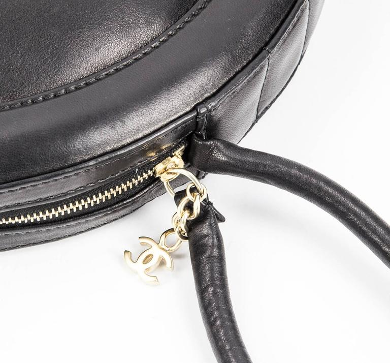 Chanel Round Black Logo Quilted Top Handle Leather Handbag  For Sale 3