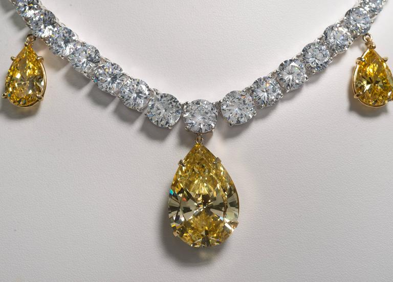 Five Drop Faux Canary Yellow Diamond Necklace 3