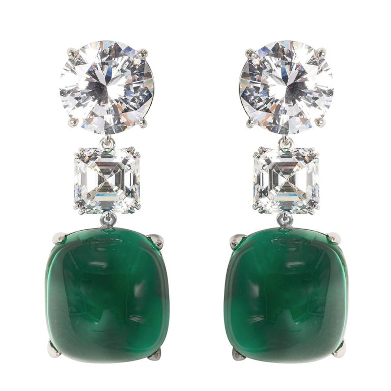 Amazing Faux Diamond Large Cabochon Emerald Earrings At