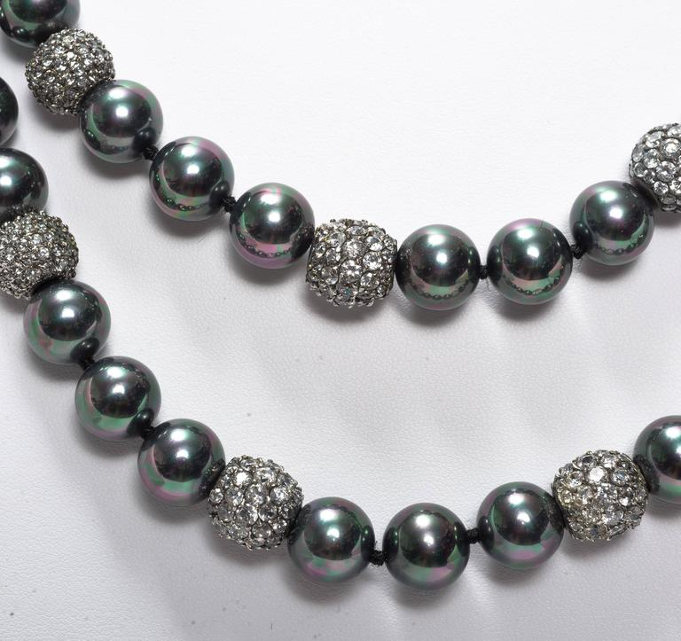 Faux Tahitian 12 MM Pearl Diamond Long Rope Necklace 2