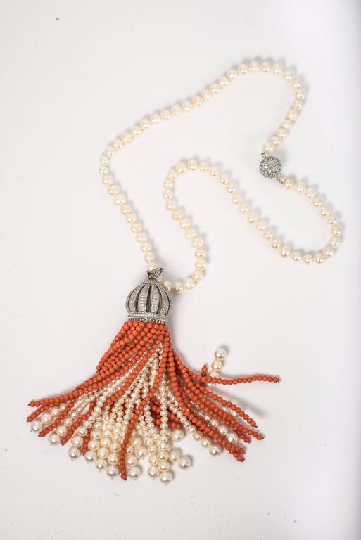 Faux Coral Pearl Diamond Domed Tassel Necklace At 1stdibs