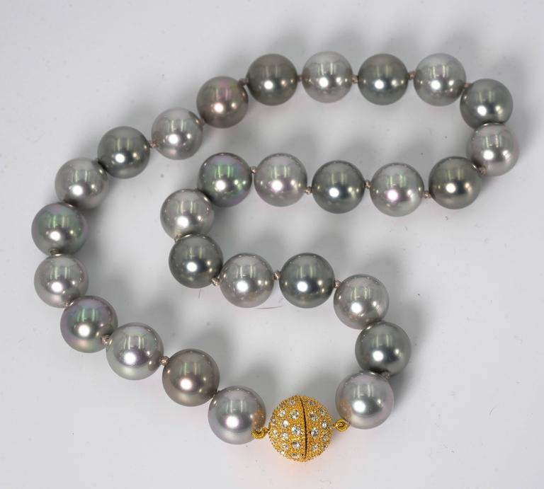 Elegant Faux 14mm South Sea Tahitian Multi Shaded Pearl 18'' Necklace 2