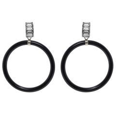 Art Deco Style Onyx Crystal Hoop Earrings