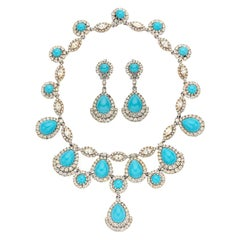 Film Star Zsa Zsa Gabor's Ciner 1960s Faux Turquoise Diamond Necklace Suite
