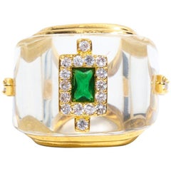 Faux Rock Crystal Emerald Ring