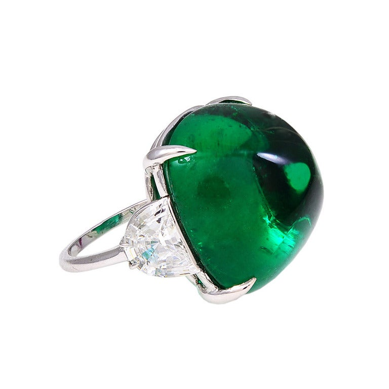 magnificent large faux cabochon emerald ring at 1stdibs