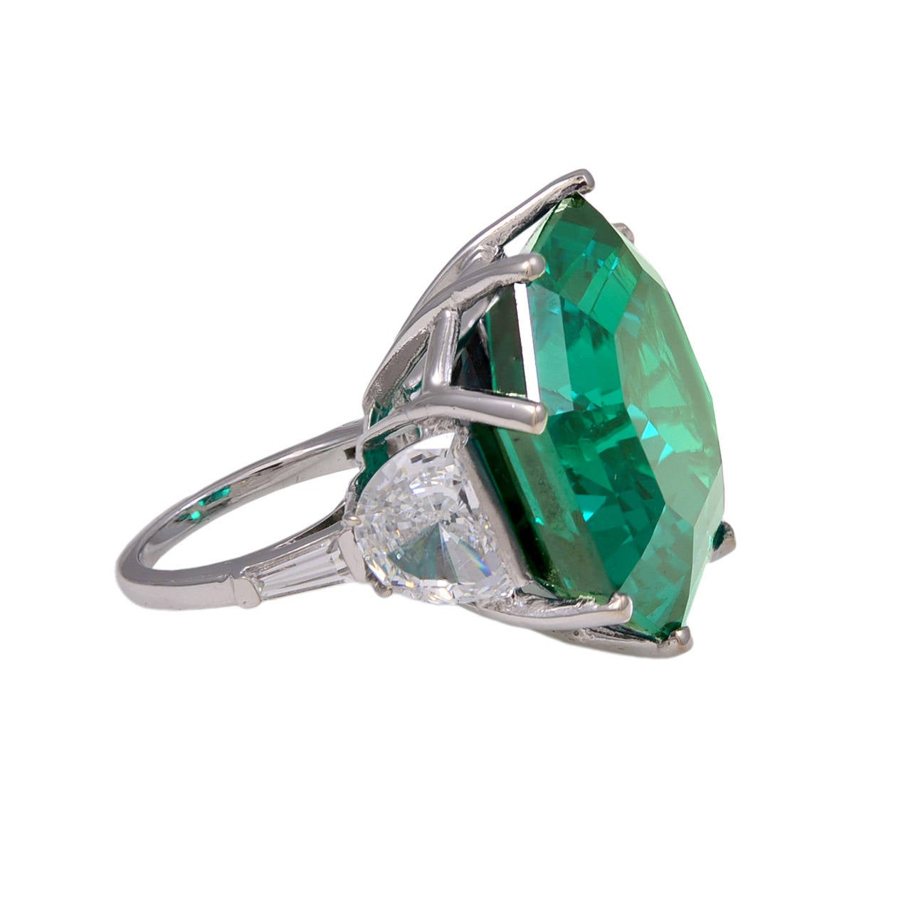 magnificent large faux square emerald ring at 1stdibs
