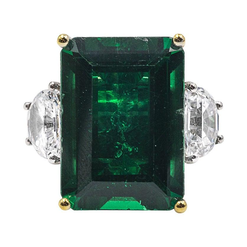 Magnificent Large Faux Colombian Color 25 Carat Emerald