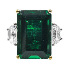 Magnificent Large Faux Colombian Color 25 Carat Emerald Gold Ring