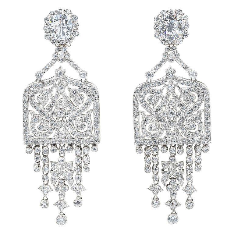 Amazing Art Deco Style Faux Diamond Chandelier Earrings At