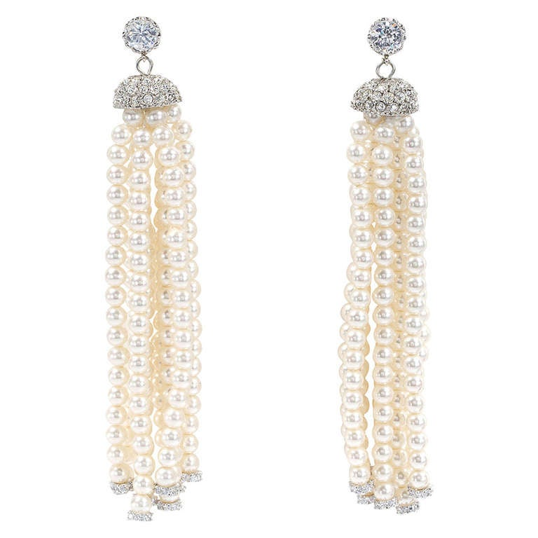 1920 S Style Pearl Tel Drop Earrings