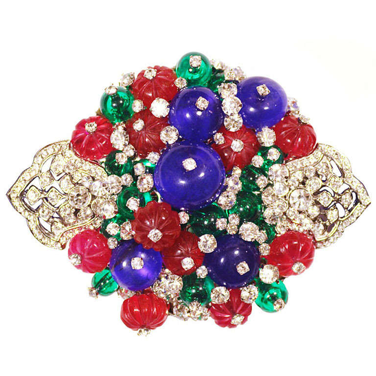 Magnificent Fruit Salad Semi-Precious Stone Art Deco Style Brooch 1